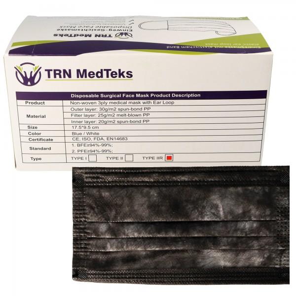 50 Stück medizinische OP-Maske Typ IIR 3-Lagig Schwarz Grau meliert, zertifiziert nach DIN EN 14683:2019+AC:2019(E), OP-Mundschutz