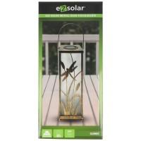 LED Solar Metall Deko Tischleuchte eckig mit 5 warmweißen LED, inklusive AAA Akku austauschbar