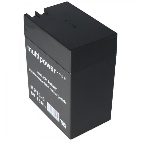 Multipower Blei-Akku MP13-6 mit 4,8mm und 6,3mm Steckkontakt