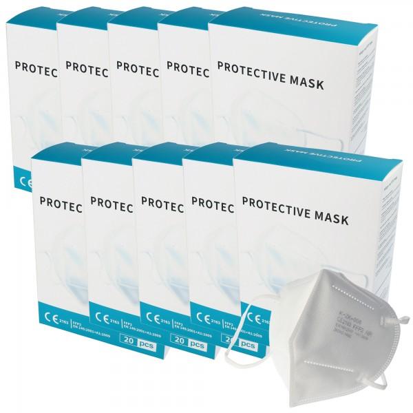 200 Stück Premium FFP2 Maske latexfrei 7-Lagig ohne Ventil, Vorratspack, zertifiziert nach DIN EN149:2001+A1:2009, partikelfiltrierende Halbmaske, FFP2 Schutzmaske