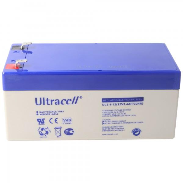 UL3.4-12 Ultracell Blei Akku 12 Volt, 3.4Ah