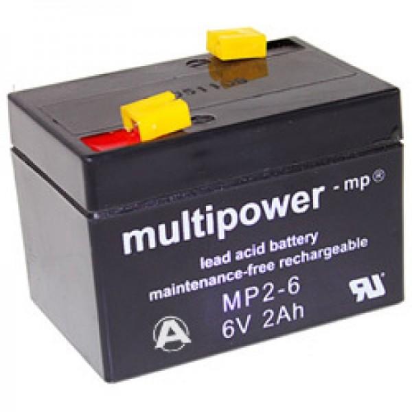 Multipower MP2-6 Akku PB Blei, 6 Volt 2000mAh, Anschluss 4,8m