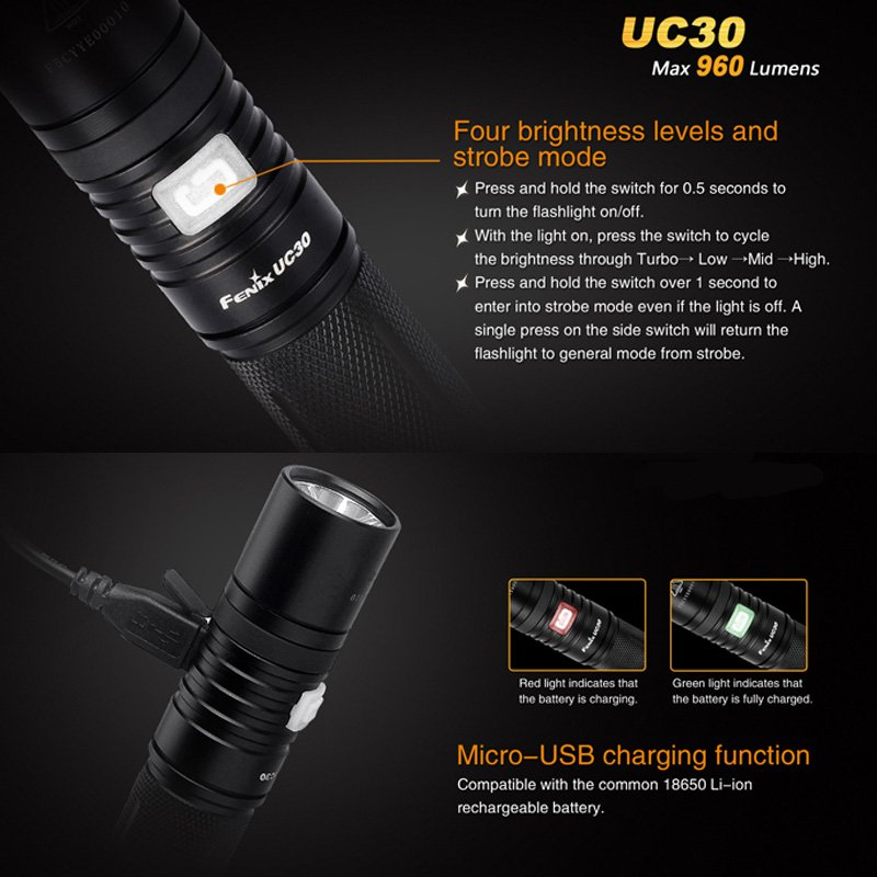 fenix uc30 cree xm l2 u2 led taschenlampe mit li ion akku. Black Bedroom Furniture Sets. Home Design Ideas