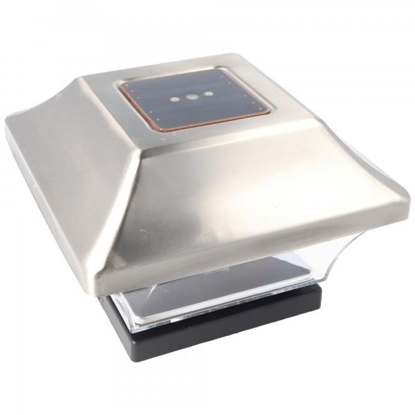 Zaunpfostenleuchte Solar LED Leuchte für Zaunpfähle, Garten Pfostenkappen, Zaunpfosten bauähnlich GL067SSDU mit 2 Adaptern in Edelstahl und Kunststoff