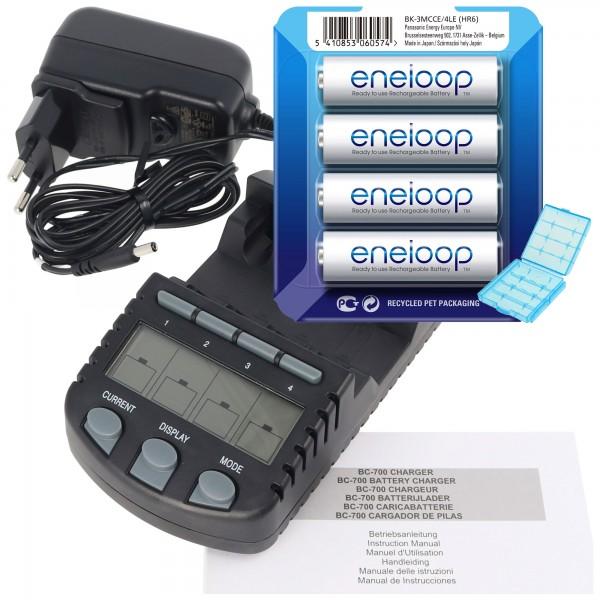 Technoline BC 700 Akku-Ladegerät schwarz mit 4x Panasonic eneloop Standard HR-3UTG und AccuCell Akkubox