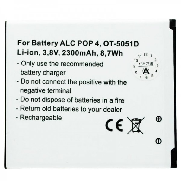 Akku passend für Alcatel POP 4, OT-5051D Akku TLP025H1