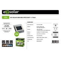LED Solar Bodenleuchte mit 2 weissen LED max. 12 Lumen, Leuchtdauer max. 8 Stunden