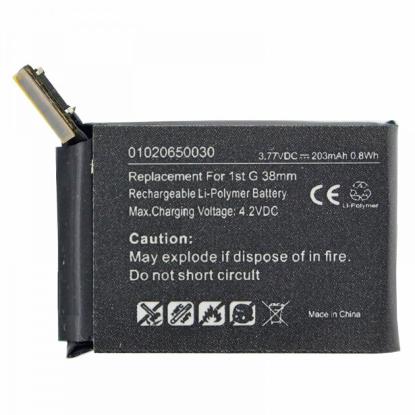 Akku passend für die Apple iWatch 38mm Li-Polymer Akku A1578, A1553, iWatch 1st G 38mm, 3,8 Volt 203mAh mit 0,8Wh