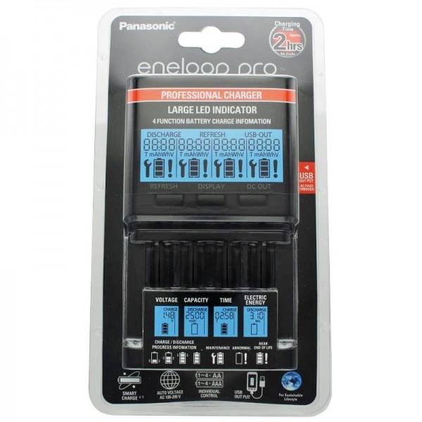 Panasonic eneloop Pro Top-Ladegerät BQ-CC65 inkl. LCD-Display und AccuCell Akkubox Blue