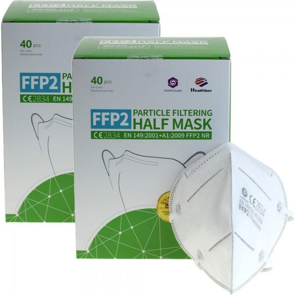 80 Stück FFP2 Maske 5-Lagig ohne Ventil, Familienpackung, zertifiziert nach DIN EN149:2001+A1:2009, partikelfiltrierende Halbmaske, FFP2 Schutzmaske
