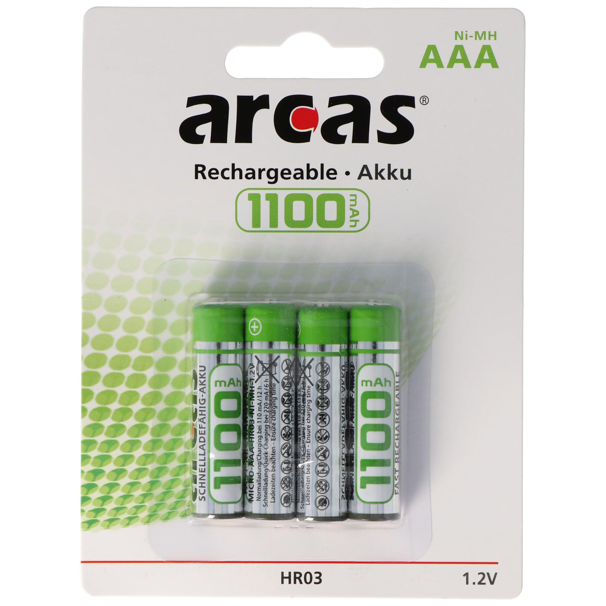 8 x Arcas 1100mAh NiMh Akku Accu AAA Micro HR03 1,2V DECT Telefon
