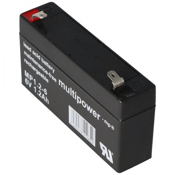 Multipower MP1.2-6 Akku PB Blei, 6 Volt 1200mAh, Anschluss 4,8