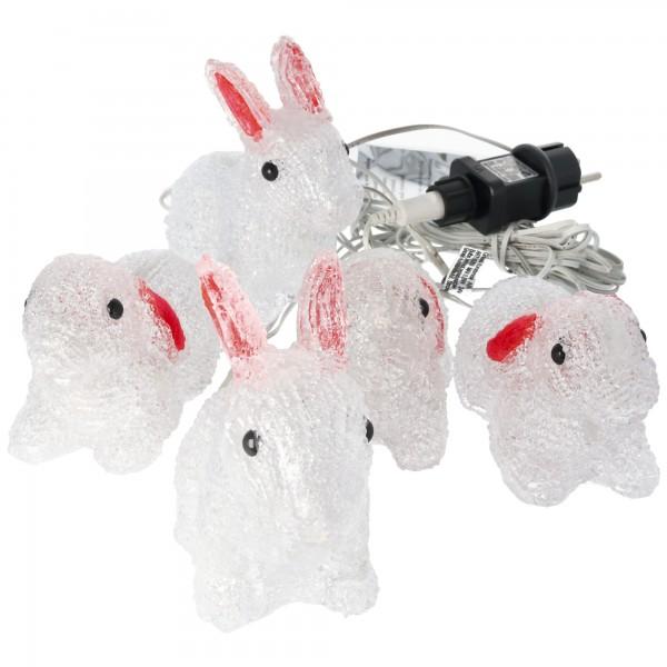 LED Acryl Hasen, 5er-Set Hasen Lichterkette, warmweiß, für Innen- und Außenbereich geeignet