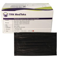 50 Stück medizinische OP-Maske Typ IIR 3-Lagig Schwarz, zertifiziert nach DIN EN 14683:2019+AC:2019(E), OP-Mundschutz