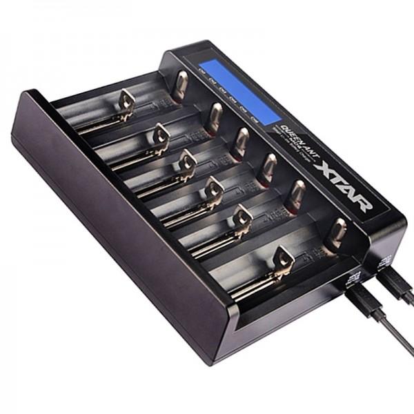 6fach Li-ion Schnell-Ladegerät passend für 1-6 Stück 10440, 14500, 14650, 16340, 16650, 17500, 17650, 17670, 18350, 18490, 18500