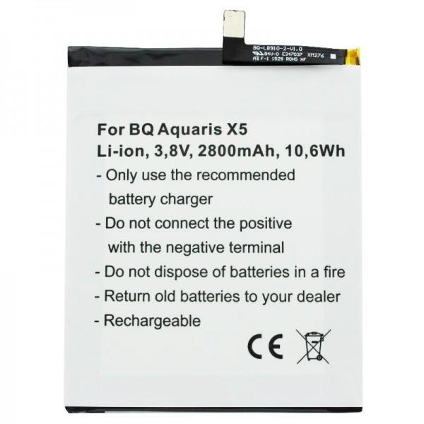 Akku passend für BQ Aquaris X5 Akku 2900 mit 3,8 Volt 2800