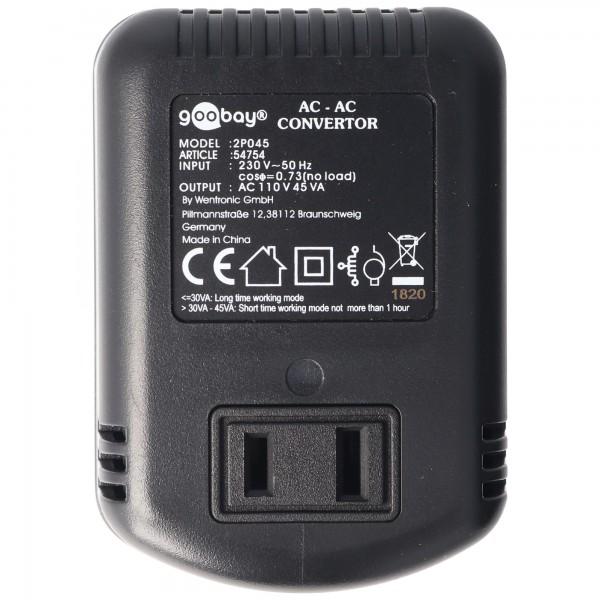 Spannungswandler AC 220-240 V AC auf 110-120 V AC max. 45W beachten