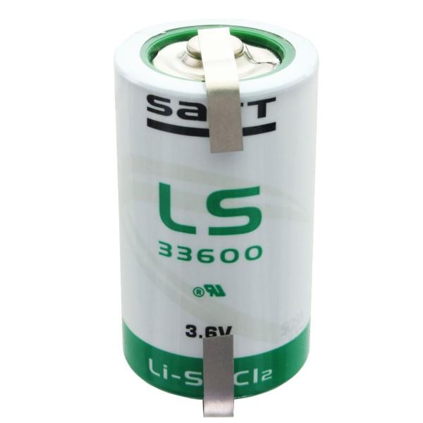 SAFT LS33600 Lithium Batterie 3.6V Primary mit Lötfahne U-Form