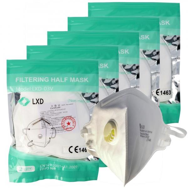 10 Stück Premium FFP3 Maske latexfrei 5-Lagig mit Ventil, Wochenration, zertifiziert nach DIN EN149:2001+A1:2009, partikelfiltrierende Halbmaske, FFP3 Schutzmaske