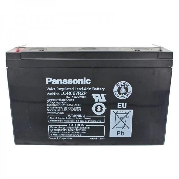 Panasonic LC-R067R2P PB Blei Akku 6 Volt, 7,2Ah mit Faston 4,8mm Steckkontakten