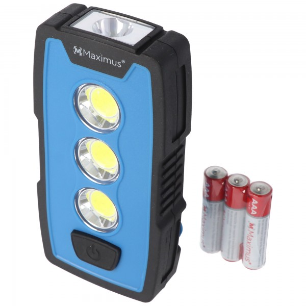 3 Watt LED Arbeitsleuchte M-WKL-006BBL, Multifunktionslampe, Taschenlampe, 230 Lumen, mit Haken, Magnet und Gürtelclip, inklusive 3x AAA Batterien