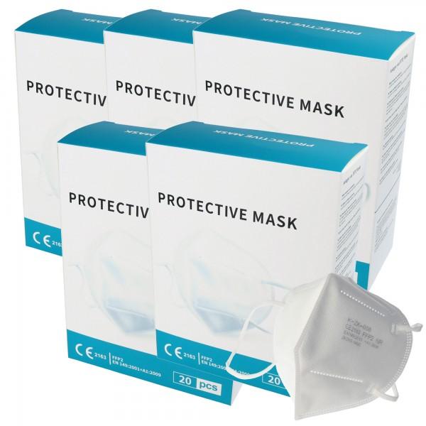 100 Stück Premium FFP2 Maske latexfrei 7-Lagig ohne Ventil, Großpackung, zertifiziert nach DIN EN149:2001+A1:2009, partikelfiltrierende Halbmaske, FFP2 Schutzmaske