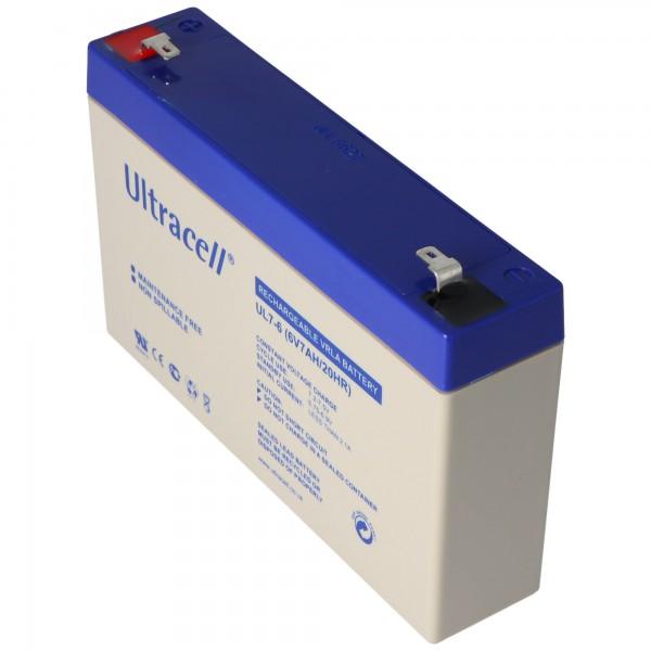 Ultracell UL7-6 Blei Akku 6 Volt 7Ah mit Faston 4,8mm Kontakten