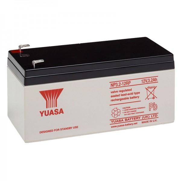 YUASA NP3.2-12 Blei Akku 12 Volt, 3200mAh mit Faston 4,8mm Steckkontakten