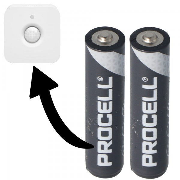 Batterie passend für Philips HUE Motion Indoor Sensor 2x Duracell Procell Alkaline LR03 Micro AAA