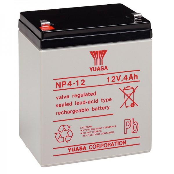 NP4-12 Yuasa Bleiakku NP4-12 mit 12 Volt und 4Ah, 4,8mm Faston Kontakt
